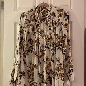 Free People Tunic with Butterflies in Ivory